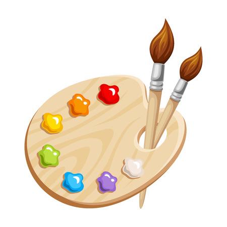 paleta de pintor: Ilustración vectorial de una paleta de arte con pinturas y pinceles aislados sobre un fondo blanco.