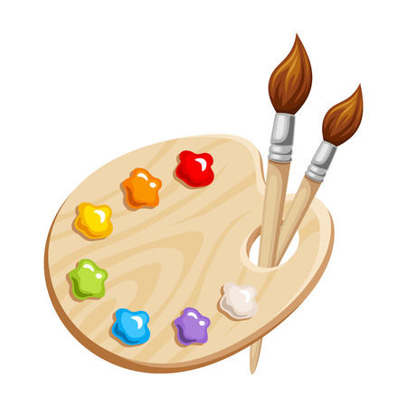 palette: Vector illustration of an art palette with paints and brushes isolated on a white background.