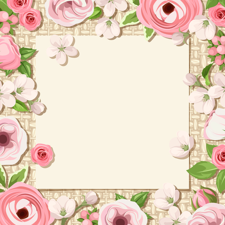 sacking: Vector card with pink roses, lisianthuses, ranunculus and apple flowers on a sacking background. Illustration