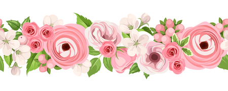 Vector horizontal seamless background with pink roses, lisianthuses, ranunculus and apple flowers on a white background.
