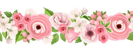 borde de flores: Fondo transparente de vector horizontal con rosas de color rosa, lisianthuses, ranúnculos y flores de manzana sobre un fondo blanco.