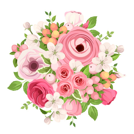 rosebuds: Vector spring bouquet of red and pink roses, lisianthuses, ranunculus and apple flowers on a white background. Illustration