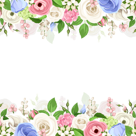 Vector horizontal seamless background with pink, white and blue, roses, lisianthuses, ranunculus, hydrangea and lily-of-the-valley flowers and green leaves.