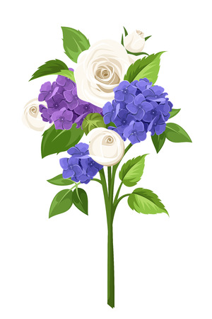 rosebuds: Vector bouquet of blue, purple, and white roses and hydrangea flowers isolated on a white background.
