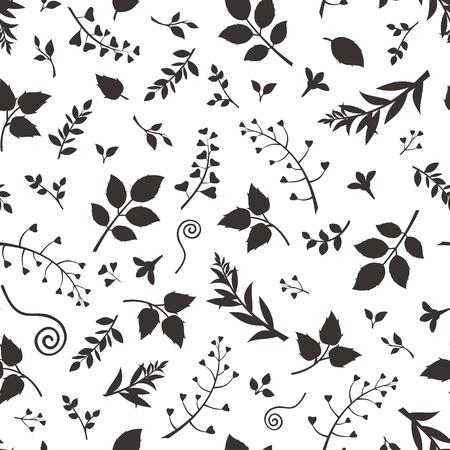 motif floral: Vector seamless floral noir et blanc. Illustration
