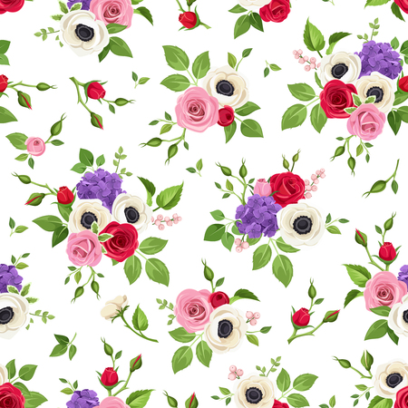 background purple: Vector seamless pattern with red, pink, white and purple roses, anemones and hydrangea flowers and green leaves on a white background.