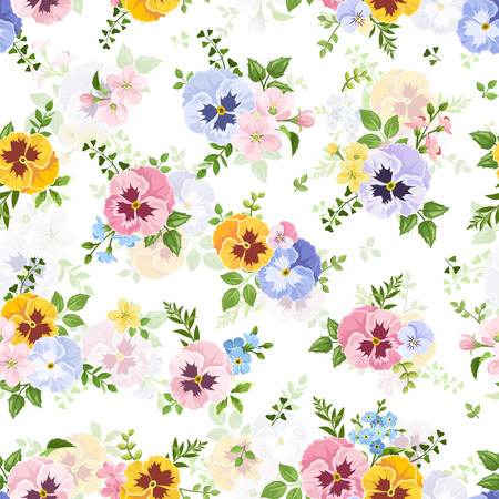 pansies: Vector seamless pattern with colorful pansy, forget-me-not and apple flowers on a white background.