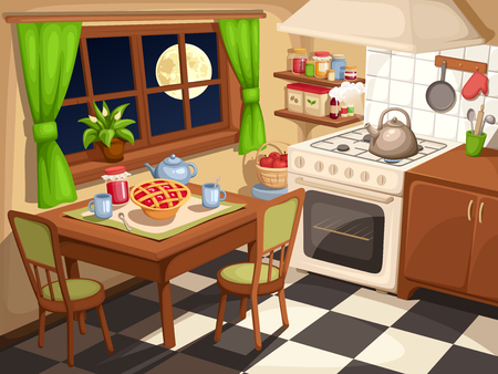 stove: Vector illustration of an evening kitchen interior with laid table and a kettle on a stove.