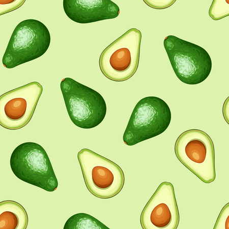 Vector seamless background with whole and sliced avocado fruit on a white background. 矢量图像