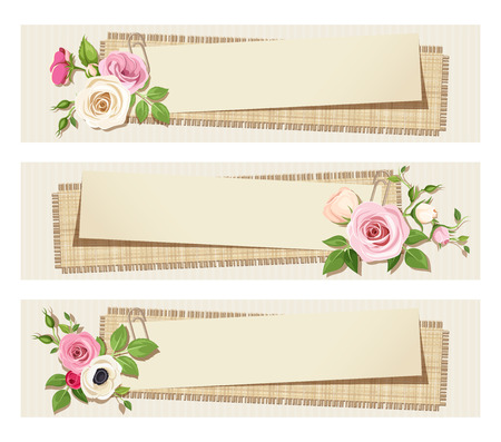 sacking: Vector vintage web banners with pink and white flowers on a cardboard background.