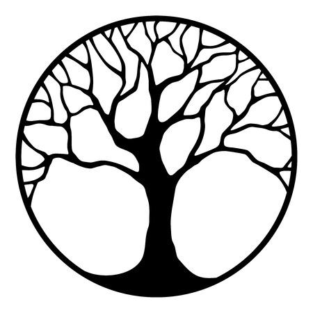 roble arbol: Vector negro silueta de un árbol en un círculo aislado en un fondo blanco.