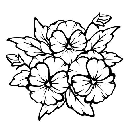Vector zwarte contouren van viooltje bloemen geïsoleerd op een witte achtergrond.