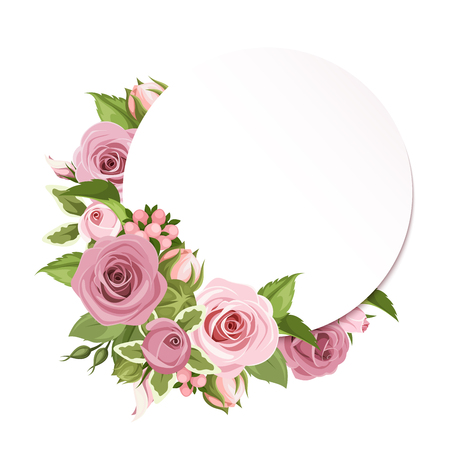 Vector circle background with pink roses and green leaves. Vettoriali