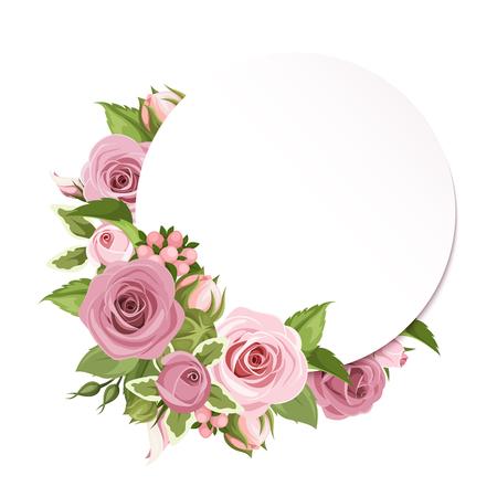 Vector cirkel achtergrond met roze rozen en groene bladeren.