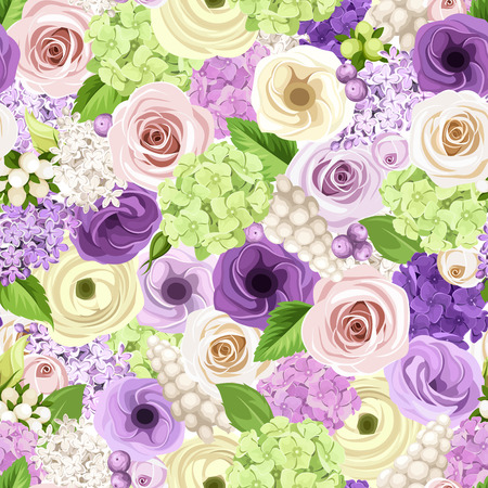 lilac background: Vector seamless background with pink, purple, white and green roses, lisianthuses, ranunculus, lilac and hydrangea flowers. Illustration