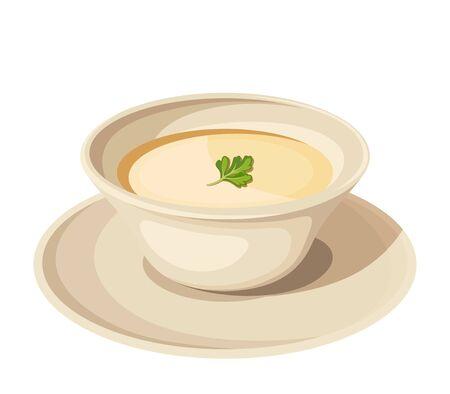 piatto: Illustrazione vettoriale di un piatto di minestra di crema isolato su uno sfondo bianco.