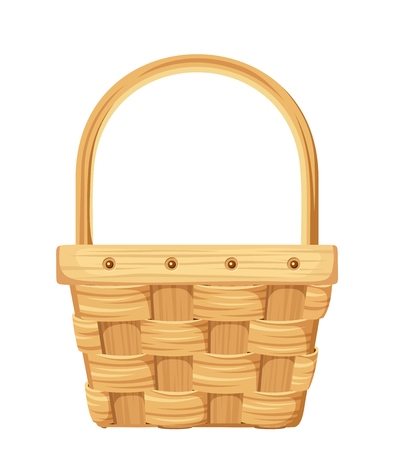 Vector illustration of an empty wicker basket isolated on a white background.