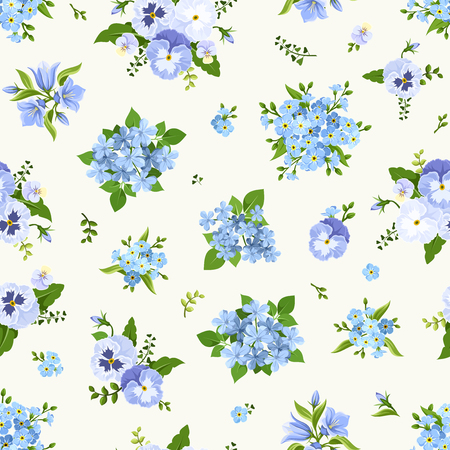 Vector seamless pattern with blue pansies, bluebells, plumbago and forget-me-not flowers.