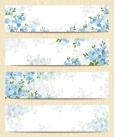 Set of four vector web banners with blue forget-me-not flowers.