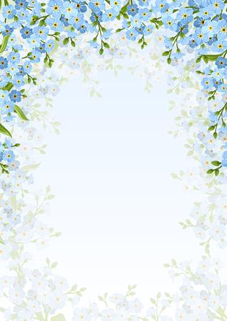 Con sfondo blu dimenticare-me-non fiori.