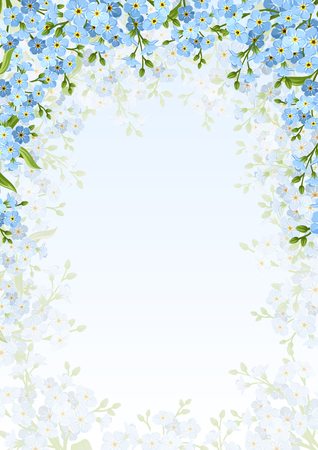 floret: background with blue forget-me-not flowers.