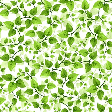 green texture: seamless background with branches with green leaves.