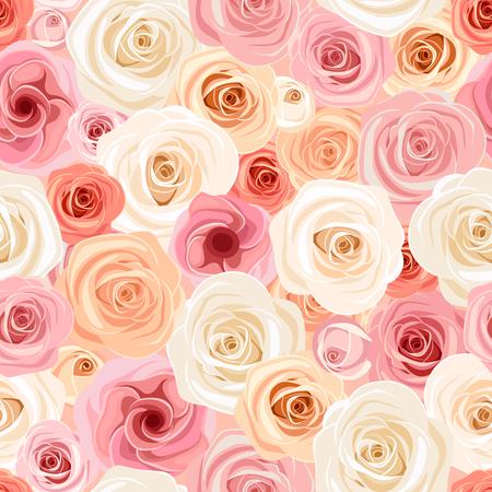 sin patrón, con rosa, naranja y rosas blancas y lisianthuses.