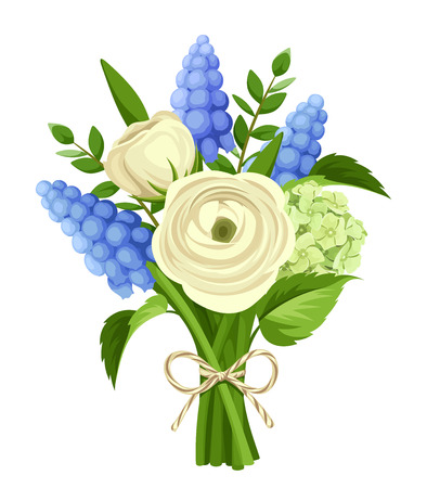 white grape: bouquet of white ranunculus and blue grape hyacinth flowers isolated on a white background.