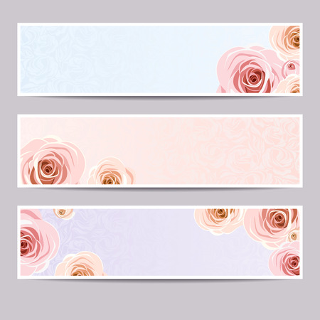 Set of three web banners with roses. Vector Illustration
