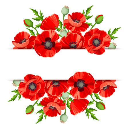 ramo de flores: Fondo de la bandera con las amapolas rojas. Vectores