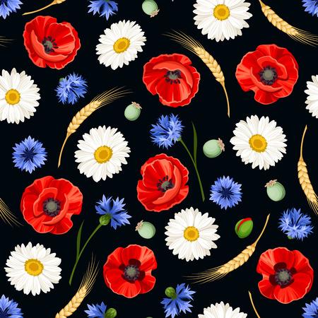 fiori di campo: seamless con papaveri rossi, margherite bianche, fiordalisi blu e spighe di grano su sfondo nero.
