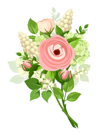 white grape: bouquet of pink ranunculus, white grape hyacinth flowers and green leaves isolated on a white background.