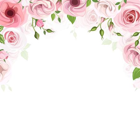 marco de fondo con rosas de color rosa y flores de lisianthus.