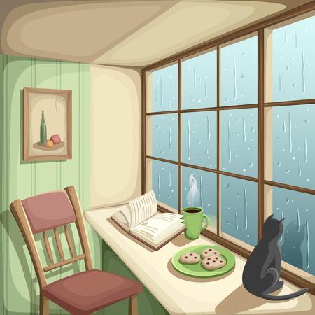 rain window: illustration of a cozy room and rain outside the big window.