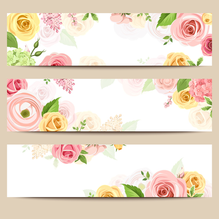 yellow roses: Set of three web banners with pink, orange and yellow roses and lisianthus flowers.