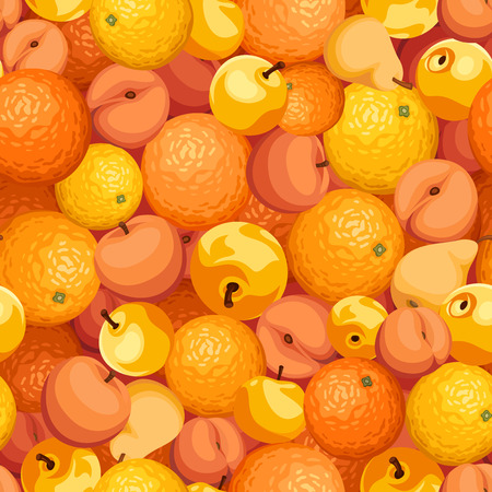 various: Vector seamless background with various orange fruits.