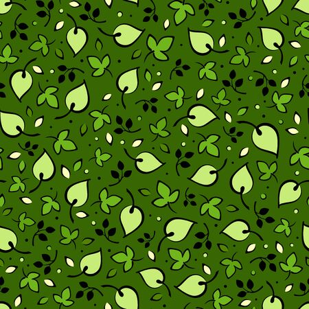 leafage: Vector seamless pattern with green leaves on a dark green background.
