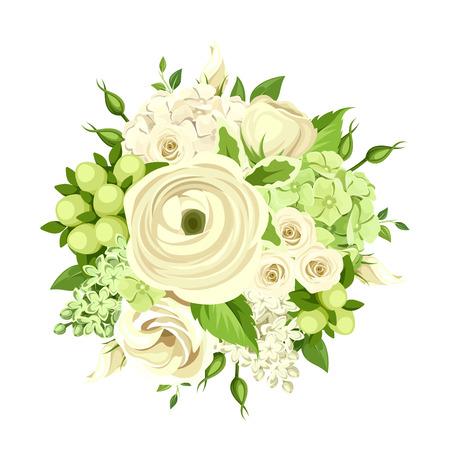 Vector el ramo con rosas blancas y verdes, ranúnculos, lisianthus y hortensias, flores aislados en blanco.