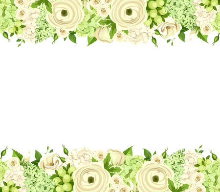 Vector horizontal seamless background with white and green roses, ranunculus, lisianthus and hydrangea flowers.