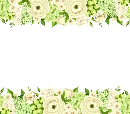 Vector orizzontale sfondo senza soluzione di continuità con rose bianche e verdi, ranuncolo, lisianthus e fiori di ortensia.