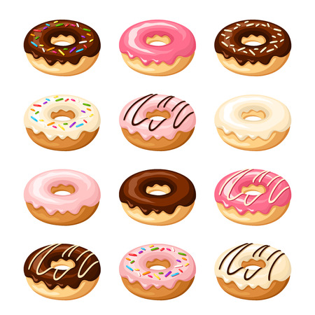 brown sugar: Set of twelve donuts with white, pink and chocolate glaze and sprinkles isolated on a white background. Vector illustration.