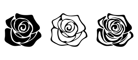 Set of three vector black silhouettes of rose flowers isolated on a white background. Imagens - 59876940