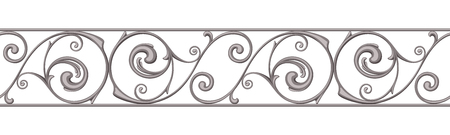 cast iron: Cast iron border ornament on white. Vector horizontal seamless background.