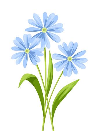 Vector el ramo de flores azules aislado en un fondo blanco.