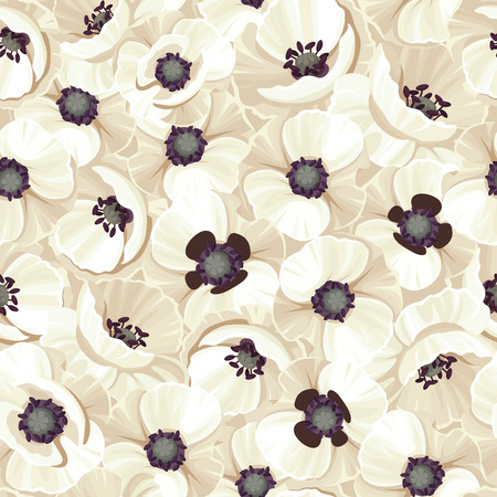 poppies: Vector seamless pattern with white poppies. Illustration