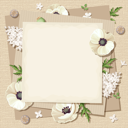 sacking: Vector beige card with white poppies and lilac flowers on a sacking background.