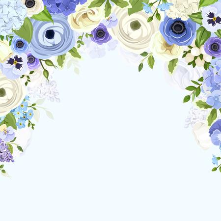Vector de fondo con varias flores azules y blancas y hojas verdes.