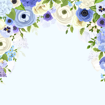 blue border: Vector background with various blue and white flowers and green leaves. Illustration