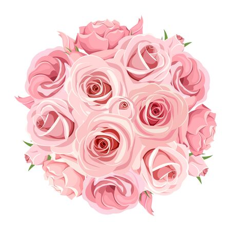 circle flower: Vector pink roses bouquet isolated on a white background.