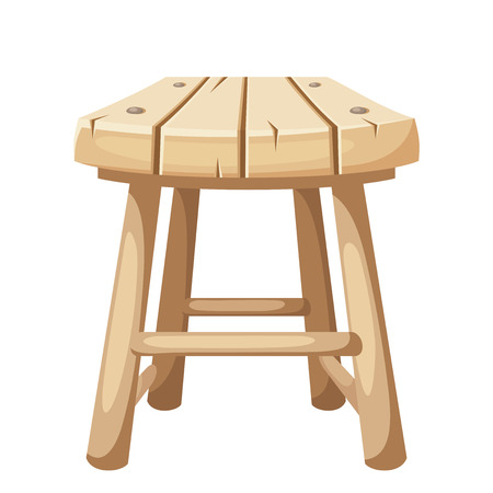 wood chair: Vector wooden stool isolated on a white background.